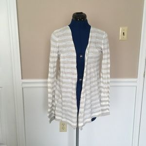 lou & grey womens s striped cardigan sweater beige